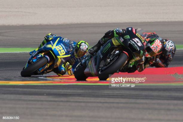Johann Zarco of France and Monster Yamaha Tech 3 leads the field during the MotoGP race during the MotoGP of Aragon Race at Motorland Aragon Circuit...