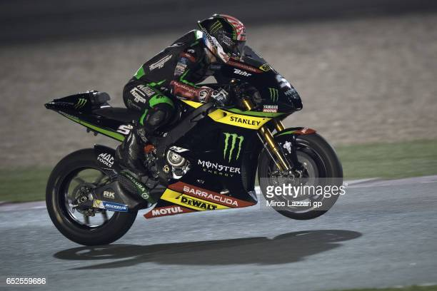 Johann Zarco of France and Monster Yamaha Tech 3 lifts the front wheel during the MotoGP Tests In Losail at Losail Circuit on March 12 2017 in Doha...