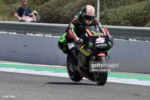 Johann Zarco of France and Monster Yamaha Tech 3 lifts the rear wheel during the MotoGp of Spain Qualifying at Circuito de Jerez on May 6 2017 in...