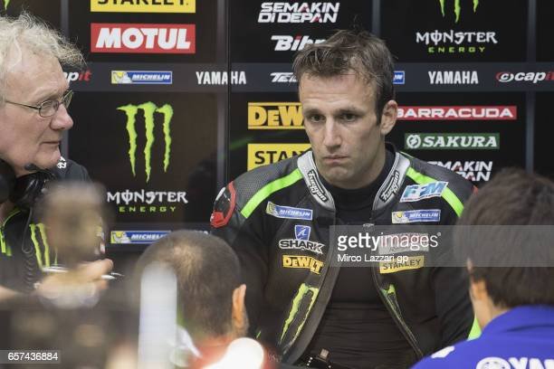 Johann Zarco of France and Monster Yamaha Tech 3 looks on in box during the MotoGp of Qatar Free Practice at Losail Circuit on March 24 2017 in Doha...