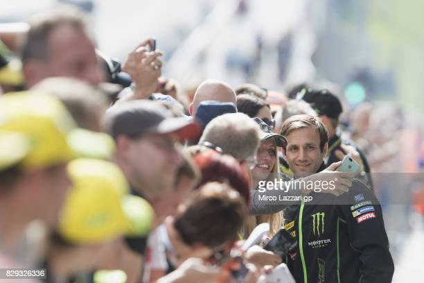 Johann Zarco of France and Monster Yamaha Tech 3 poses for fans during the MotoGp of Austria Preview at Red Bull Ring on August 10 2017 in Spielberg...