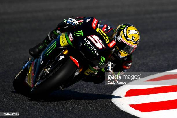 Johann Zarco of France and Monster Yamaha Tech 3 rides during a free practice ahead of qualifying at Circuit de Catalunya on June 10 2017 in Montmelo...