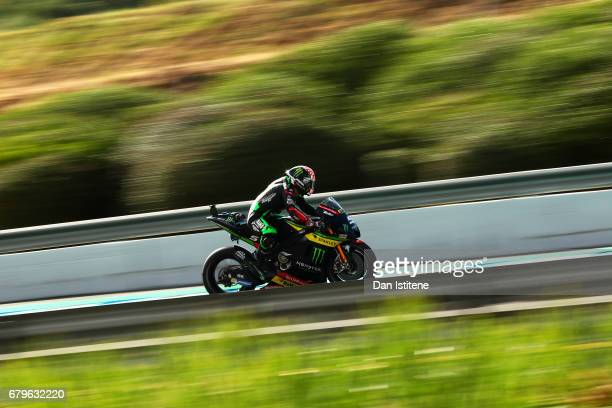 Johann Zarco of France and Monster Yamaha Tech 3 rides during final practice for the MotoGP of Spain at Circuito de Jerez on May 6 2017 in Jerez de...