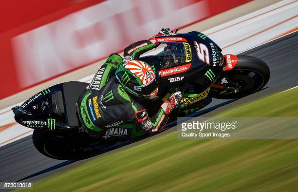 Johann Zarco of France and Monster Yamaha Tech 3 rides during the MotoGP of Valencia Qualifying at Comunitat Valenciana Ricardo Tormo Circuit on...