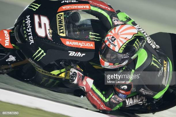 Johann Zarco of France and Monster Yamaha Tech 3 rounds the bend during the MotoGP Tests In Losail at Losail Circuit on March 12 2017 in Doha Qatar