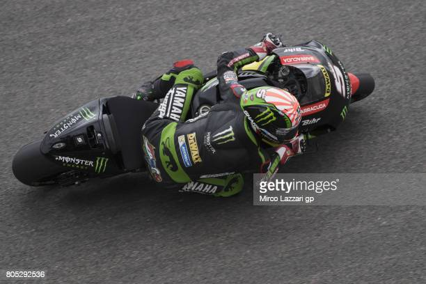 Johann Zarco of France and Monster Yamaha Tech 3 rounds the bend during the MotoGp of Germany Qualifying at Sachsenring Circuit on July 1 2017 in...