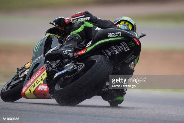 Johann Zarco of France and Monster Yamaha Tech 3 rounds the bend during the MotoGP of Aragon Free Practice at Motorland Aragon Circuit on September...