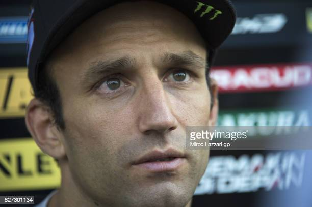 Johann Zarco of France and Monster Yamaha Tech 3 speaks with journalists at the end of the testing day during the MotoGp Tests In Brno at Brno...