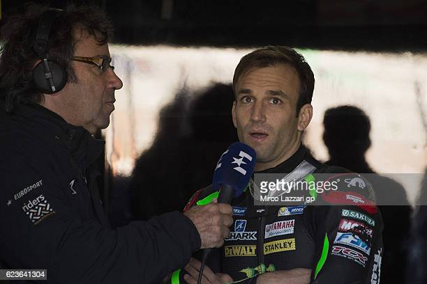 Johann Zarco of France and Monster Yamaha Tech 3 speaks with journalists in box during the MotoGp Tests In Valencia at Ricardo Tormo Circuit on...