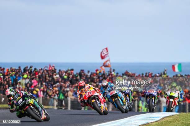 Johann Zarco of France riding for Monster Yamaha Tech 3 ahead of Marc Marquez of Spain Repsol Honda Team during the 2017 MotoGP of Australia Phillip...