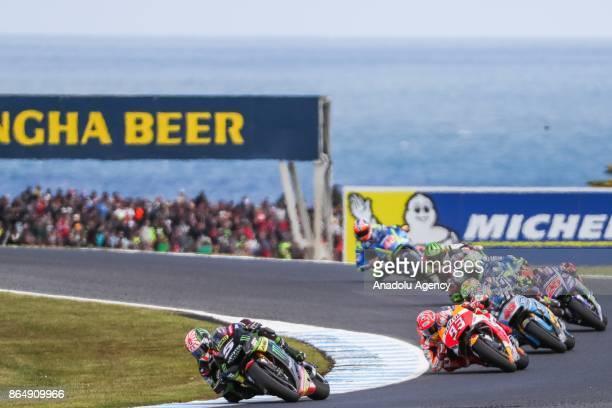 Johann Zarco of France riding for Monster Yamaha Tech 3 ahead of Marc Marquez of Spain Repsol Honda Team and Jack Miller of Australia riding for EG...
