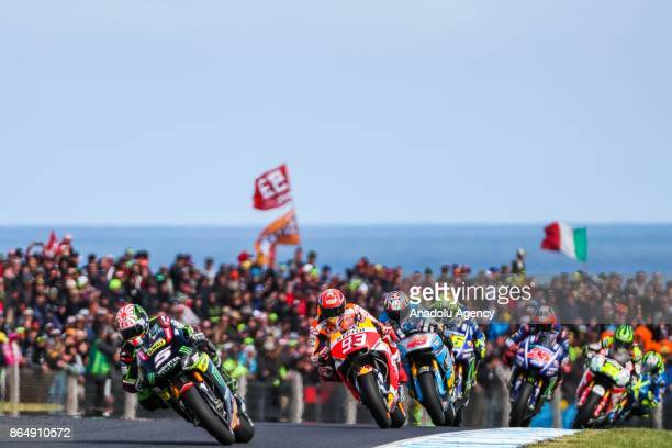 Johann Zarco of France riding for Monster Yamaha Tech 3 ahead of Marc Marquez of Spain Repsol Honda Team are seen during the 2017 MotoGP of Australia...
