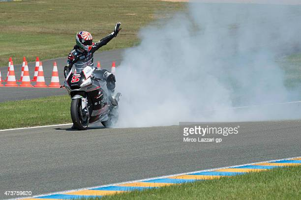 Johann Zarco of French and AJO Motorsport celebrates at the end of the Moto2 race during the MotoGp of France Race at on May 17 2015 in Le Mans France