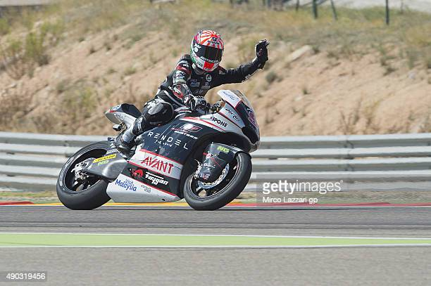 Johann Zarco of French and AJO Motorsport greets the fans at the end of the Moto2 race during the MotoGP of Spain Race at Motorland Aragon Circuit on...
