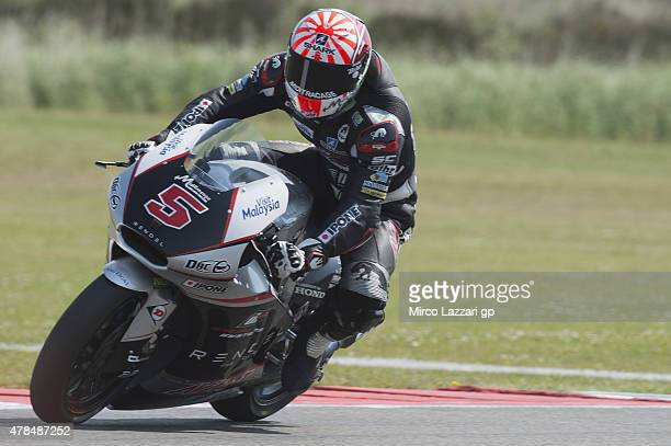 Johann Zarco of French and AJO Motorsport heads down a straight during the MotoGP Netherlands Free Practice at on June 25 2015 in Assen Netherlands