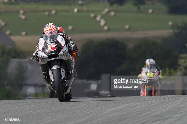 Johann Zarco of French and AJO Motorsport heads down a straight during the MotoGp of Germany Free Practice at Sachsenring Circuit on July 10 2015 in...
