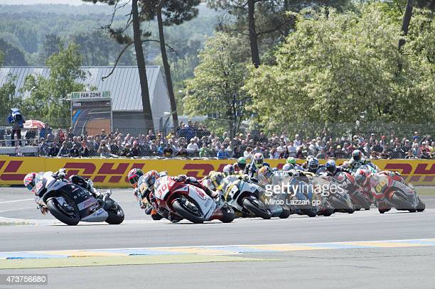 Johann Zarco of French and AJO Motorsport leads the field during the Moto2 race during the MotoGp of France Race at on May 17 2015 in Le Mans France