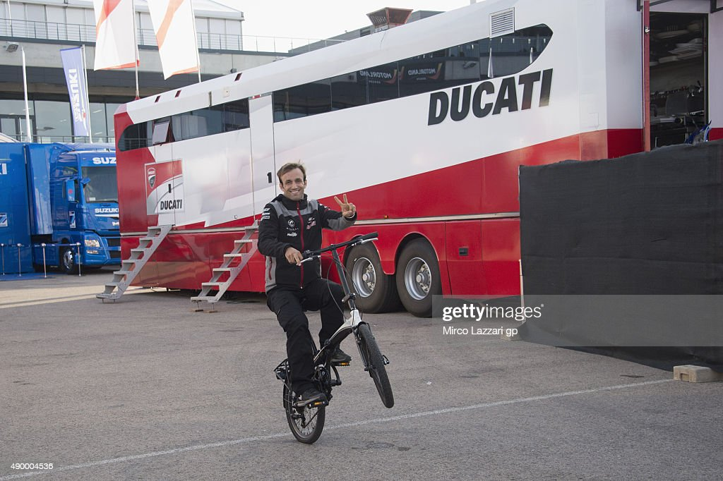 <a gi-track='captionPersonalityLinkClicked' href=/galleries/search?phrase=Johann+Zarco&family=editorial&specificpeople=4501201 ng-click='$event.stopPropagation()'>Johann Zarco</a> of French and AJO Motorsport rides the bicycle in paddock during the MotoGP of Spain - Free Practice at Motorland Aragon Circuit on September 25, 2015 in Alcaniz, Spain.
