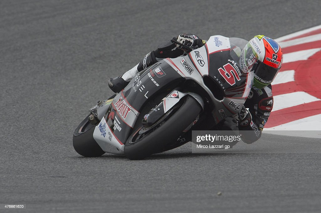 <a gi-track='captionPersonalityLinkClicked' href=/galleries/search?phrase=Johann+Zarco&family=editorial&specificpeople=4501201 ng-click='$event.stopPropagation()'>Johann Zarco</a> of French and AJO Motorsport rounds the bend during the MotoGp of Catalunya - Free Practice at Circuit de Catalunya on June 12, 2015 in Montmelo, Spain.