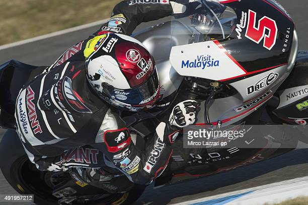Johann Zarco of French and AJO Motorsport rounds the bend during the MotoGP Of Japan Free Practice at Twin Ring Motegi on October 9 2015 in Motegi...