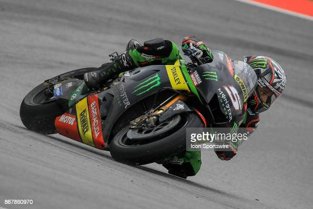 Johann Zarco of Monster Yamaha Tech 3 wave to the crowd after the completion of the MotoGP race of the Malaysian Motorcycle Grand Prix on October 29...