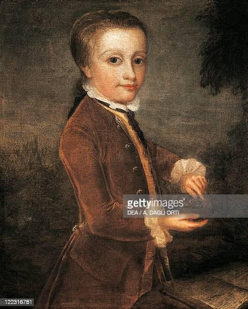 Johann Zoffany Portrait of Wolfgang Amadeus Mozart Austrian composer with a nightingale nest London 176465