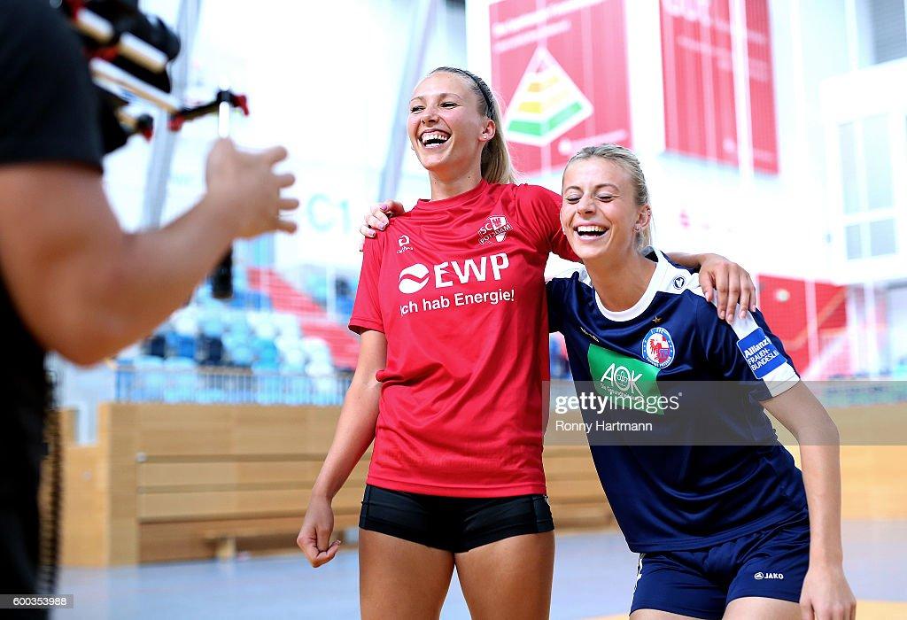 Johanna Elsig (R) of Turbine Potsdam and volleyballer Lisa Ruehl (L) of Volleyball SC Potsdam during the Allianz Women's Bundesliga Club Tour on September 7, 2016 in Potsdam, Germany.