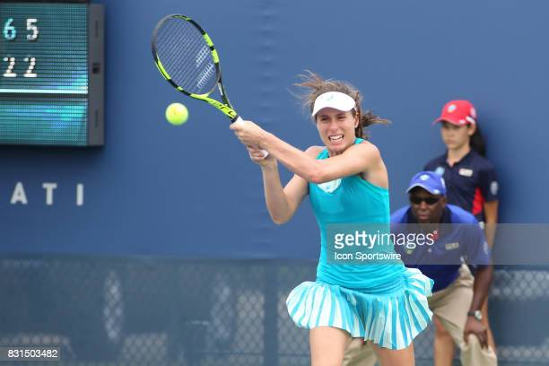 Johanna Konta hits a backhand during the Western Southern Open at the Lindner Family Tennis Center in Mason Ohio on August 14 2017