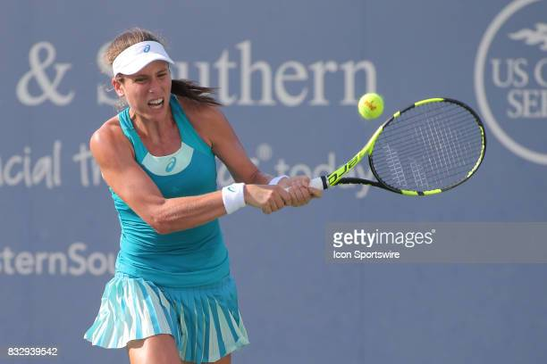 Johanna Konta hits a backhand during the Western Southern Open at the Lindner Family Tennis Center in Mason Ohio on August 15 2017