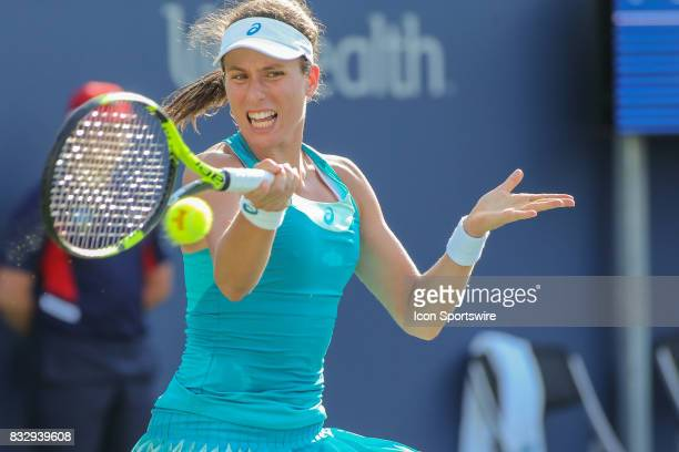 Johanna Konta hits a forehand during the Western Southern Open at the Lindner Family Tennis Center in Mason Ohio on August 15 2017