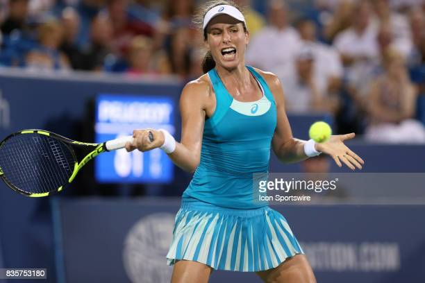 Johanna Konta hits a forehand during the Western Southern Open at the Lindner Family Tennis Center in Mason Ohio on August 18th 2017