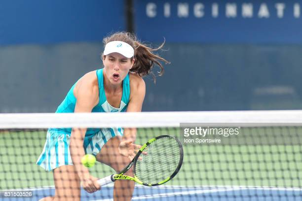 Johanna Konta hits a volley during the Western Southern Open at the Lindner Family Tennis Center in Mason Ohio on August 14 2017
