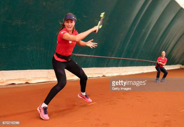 Johanna Konta in action during a Great Britain Fed Cup training session at Tenis Club IDU on April 19 2017 in Constanta Romania