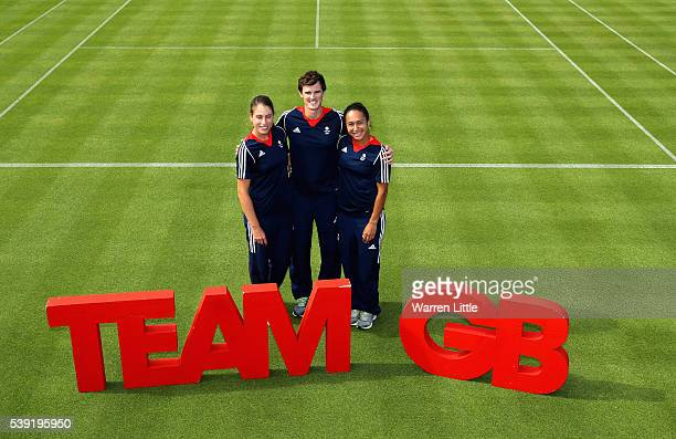 Johanna Konta Jamie Murray and Heather Watson of Great Britain poses for a picture after an announcement of tennis athletes named in Team GB for the...