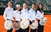 Johanna Konta Judy Murray captain of Great Britain Elena Baltacha Anne Keothavong and Laura Robson of Great Britain pose for a photo during previews...
