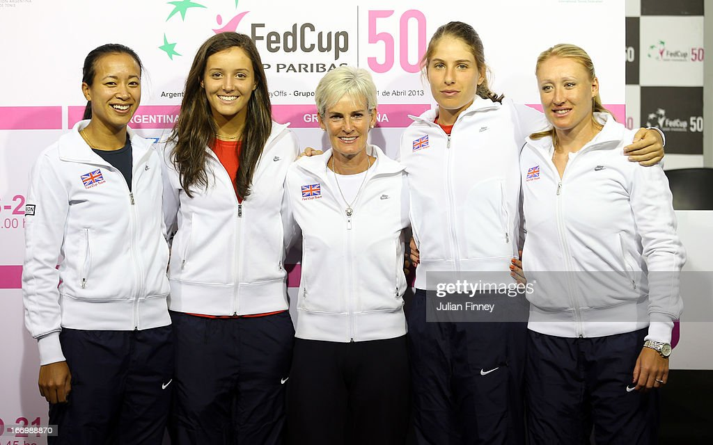 Johanna Konta, Judy Murray, captain of Great Britain, Elena Baltacha, Anne Keothavong and Laura Robson of Great Britain pose for a team photo after the draw during previews ahead of the Fed Cup World Group Two Play-Offs between Argentina and Great Britain at Parque Roca on April 19, 2013 in Buenos Aires, Argentina.
