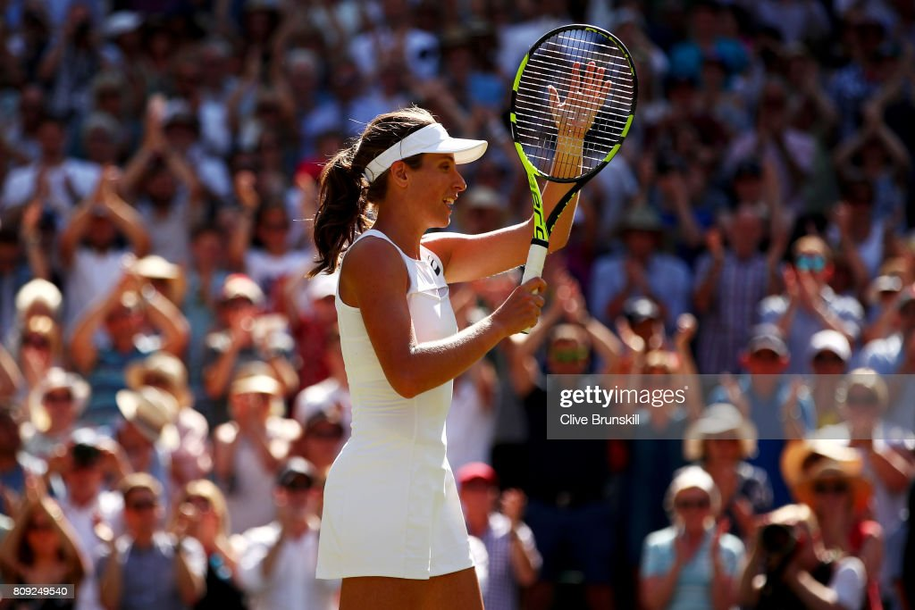 Johanna Konta of Great Britain acknowledges the crowd as she celebrates victory after the Ladies Singles second round match against Donna Vekic of Croatia on day three of the Wimbledon Lawn Tennis Championships at the All England Lawn Tennis and Croquet Club on July 5, 2017 in London, England.