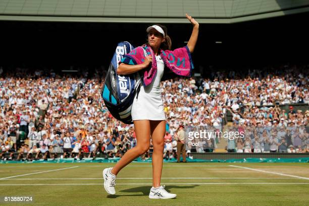 Johanna Konta of Great Britain acknowledges the crowd in defeat after the Ladies Singles semi final match against Venus Williams of The United States...