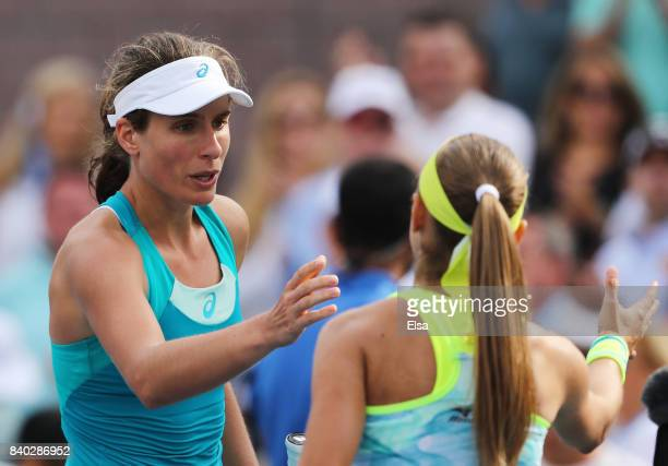 Johanna Konta of Great Britain after her first round Women's Singles match against Aleksandra Krunic of Serbia Montenegro on Day One of the 2017 US...