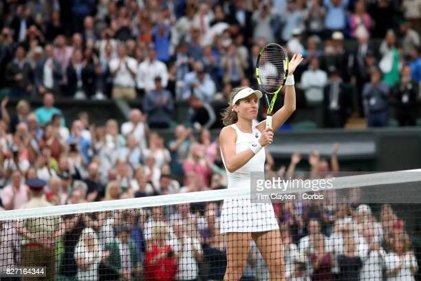 Johanna Konta of Great Britain after victory against Simona Halep of Romania in the Ladies' Singles Quarter Final match on Center Court during the...