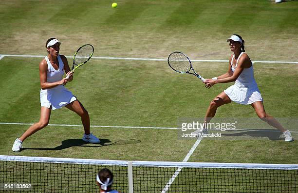 Johanna Konta of Great Britain and partener Maria Sanchez of The United States in action during the Ladies Doubles third round match against Timea...