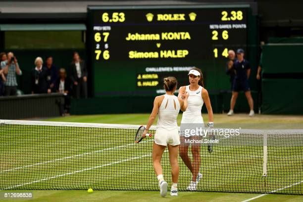 Johanna Konta of Great Britain and Simona Halep of Romania shakes hands after the Ladies Singles quarter final match on day eight of the Wimbledon...