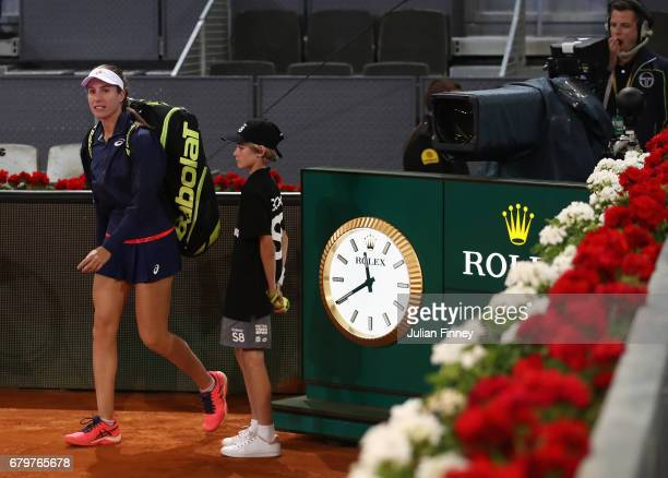 Johanna Konta of Great Britain arrives at 1140pm for her match against Laura Siegemund of Germany during day one of the Mutua Madrid Open tennis at...