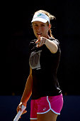 Johanna Konta of Great Britain attends a practice session on Day Seven of the 2015 US Open at the USTA Billie Jean King National Tennis Center on...