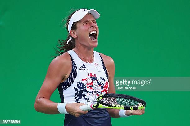 Johanna Konta of Great Britain celebrates a match point during the women's third round match against Svetlana Kuznetsova of Russia on Day 4 of the...
