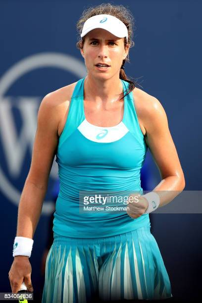 Johanna Konta of Great Britain celebrates a point against Dominika Cibulkova of Slovakia during day 6 of the Western Southern Open at the Lindner...