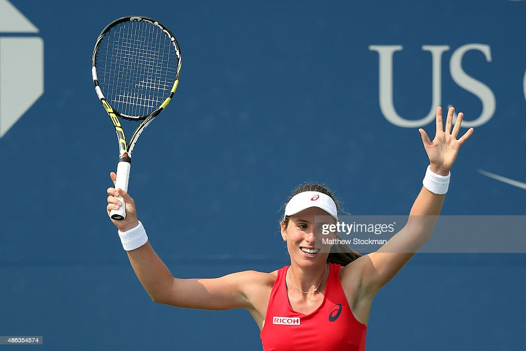 Johanna Konta of Great Britain celebrates after defeating Garbine Muguruza of Spain in their Women's Singles Second Round match on Day Four of the...