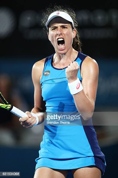 Johanna Konta of Great Britain celebrates after victory in her semi final match against Eugenie Bouchard of Canada during day five of the 2017 Sydney...