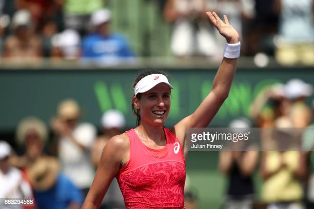 Johanna Konta of Great Britain celebrates after winning match point after the women's singles final match against Caroline Wozniacki of Denmark on...