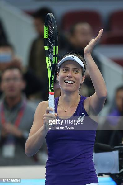 Johanna Konta of Great Britain celebrates after winning the Women's singles semifinals against Madison Keys of USA on day eight of the 2016 China...